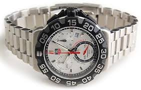 tag heuer formula 1 watches top 10 autosportsart chronograph functions 60 second 30 minute and 1 10 of a second date function silver dial luminous hands and silver tone hour markers