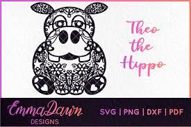 Hippo Mandala Zentangle Design Graphic By Emma Dawn Designs Creative Fabrica