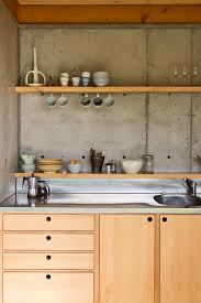 New Kitchen That Work Concrete Slab Walls And Wooden Bench Cupboard Kitchen Patch