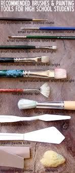 types of brushes and painted tools recommended for high school art painting students