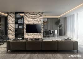 rare stone tv wall design