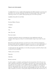 Resume Example An Example Of Job Cover Letter For Resume Resume