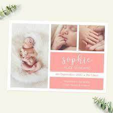 Baby Announcement Cards Baby Announcement Cards Coral Photo Trio