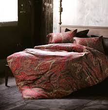 boho paisley print luxury duvet quilt cover and shams 3pc bedding set bohemian damask medallion burdy red