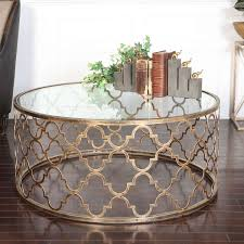 uttermost quatrefoil gold coffee table on with regard to well liked glass gold coffee tables