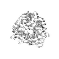 Silver coloured brass wire end tips hole 0 5mm 50pcs pk