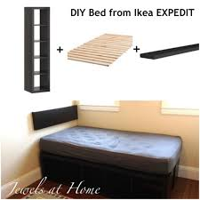 Ikea storage bed hack Diy Awesome Ikea Hack Diy Compact Bed With Tons Of Storage Using Ikea Expedit Sweet Revenge Ikea Expedit Hack Compact Storage Bed Jewels At Home