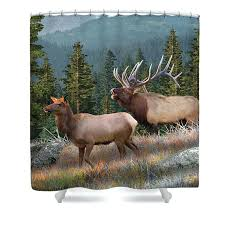 mountain shower curtain elk shower curtains rustic cabin decor featuring the elk painting rocky mountain elk