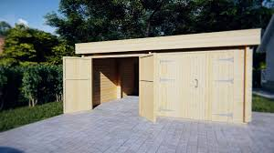 modern double wooden garage f with flat roof 44mm 6 x 6 m