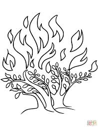 Moses And The Burning Bush Free Coloring Pages Printable Of Page