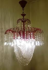 french brass red finished crystal chandelier with red beads