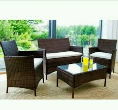 garden furniture set table chair and sofa brown rattan conservatory garden argos 299 99