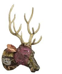 vintage patchwork sari wall mounted deer head buck stag woodland trophy dark