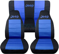 jeep wrangler black and blue jeep logo seat covers
