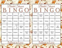 Wedding Bingo Words 30 Falling In Love Bridal Bingo Cards Fall Bridal Shower Bingo Game Prefilled Printable Download Autumn Fall Wedding Theme Wd2002