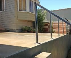 concrete patio steps wall metal