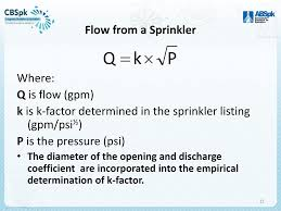 Sprinkler K Factor Chart Hydraulics For Fire Protection Ppt Download