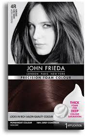 John Frieda Precision Foam Color Chart Precision Foam Colour 4r Radiant Red Dark Red Brown John