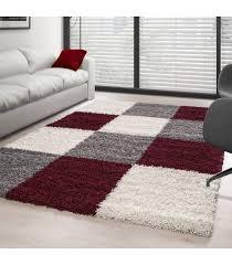 carpet designe checd red white grey hochflor gy teppich unifarbe life 1501 schwarz