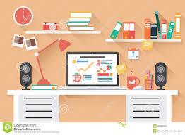 office desk work. Home Office Desk - Flat Design, Long Shadow, Work E