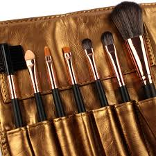 high quality 7 makeup brush set kit in sleek golden leather bag portable make up brushes in makeup scissors from beauty health on aliexpress