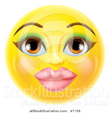 vector ilration of a 3d pretty female yellow smiley emoji emoticon face with makeup
