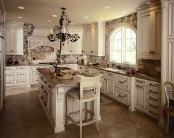 fabulous tuscan style kitchen cabinets in white color for gorgeous kitchen with artistic metal chandelier