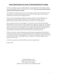 What Should Be In A Letter Of Recommendation For College Senior Questionnaire For Letter Of Recommendation For