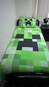 minecraft creeper bed | Details about Minecraft creeper single bed ... & minecraft creeper bed | Details about Minecraft creeper single bed quilt  cover / doona cover Adamdwight.com