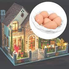Rổ đựng trứng + 6 quả trứng mini tỉ lệ 1 : 12 , đồ dùng dành cho búp bê