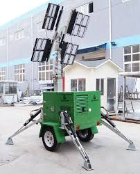 Truck Mounted Led Light Tower Customized Hydraulic Light Tower With 4 Times 650w Led