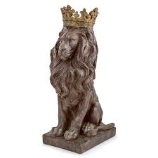 Antiqued <b>Lion</b> Garden <b>Statue</b>   Audenza