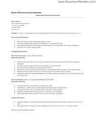 Sample Resume For Back Office Executive Back Office Executive Resume