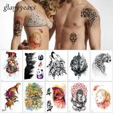 Glaryyears 24 дизайна 1 лист временный корпус татуировка животных
