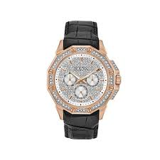 bulova men s crystal goldtone stainless steel angled dial leather bulova men s angled crystal dial leather strap watch
