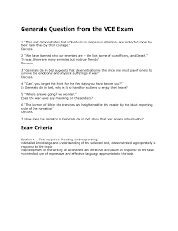 generals question from the vce exam
