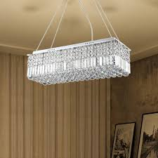 crystal rectangular hanging light