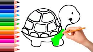 how to coloring turtle drawing book for kids learning how to paint with colored markers