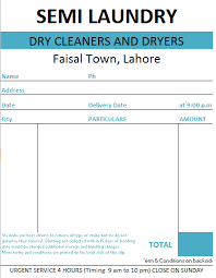 Laundry Bill Format In Excel And Word Formats