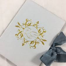 Wedding Invitation Folder Vintage Linen Wedding Folder With Gold Foil Stamp Handmade Vintage Silk Ribbon