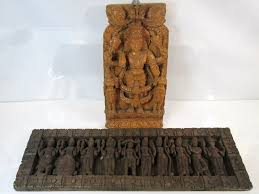 asian indian carved wooden wall art