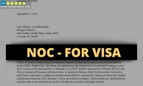 noc letter for visa application from
