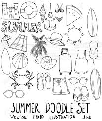 夏イラスト手描きのセット