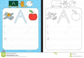 Letter Practicing Alphabet Tracing Worksheet Stock Vector Illustration Of