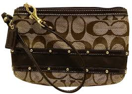 Coach New Studded Signature Wristlet in Khaki Brown Mahogany Gold ...