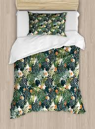 green duvet cover set hawaiian summer aloha pattern with tropical plants and hibiscus flowers decorative bedding set with pillow shams green dark teal