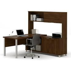 L Shaped Modern Desk Pro Linea Modern L Shaped Desk With Hutch In Oak Barrel
