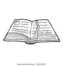 hand drawn old open book with bookmark vector cartoon ilration