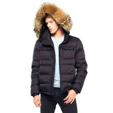 black mens winter jacket l fur furhood realfur downjacket