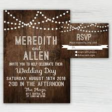 String Of Lights Rustic Wedding Invitation Rustic Wood Wedding Invitation Country Wedding Invitation